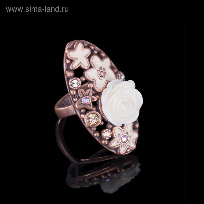 """Кольцо """"Пальмье"""", размер 16, цвет белый в медном"""