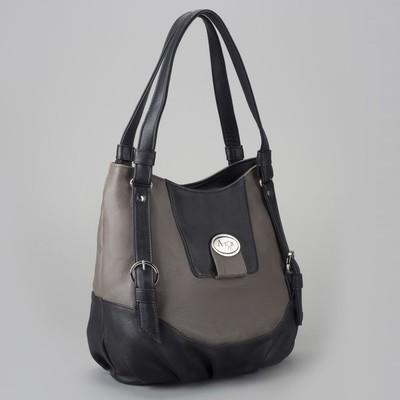 Сумка женская на молнии, 1 отдел, 1 наружный карман, чёрный/коричневый