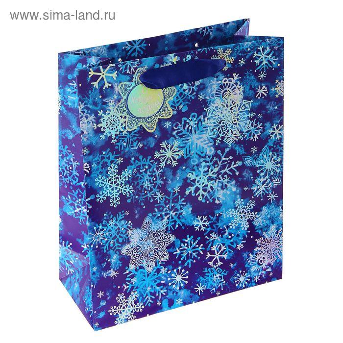 "Пакет подарочный ""Снежный"" люкс, 32 х 26 х 12 см"