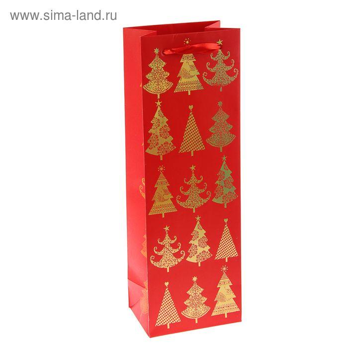 """Пакет подарочный под бутылку """"Красно-золотые ёлки"""" люкс, 36 х 12 х 8.5 см"""