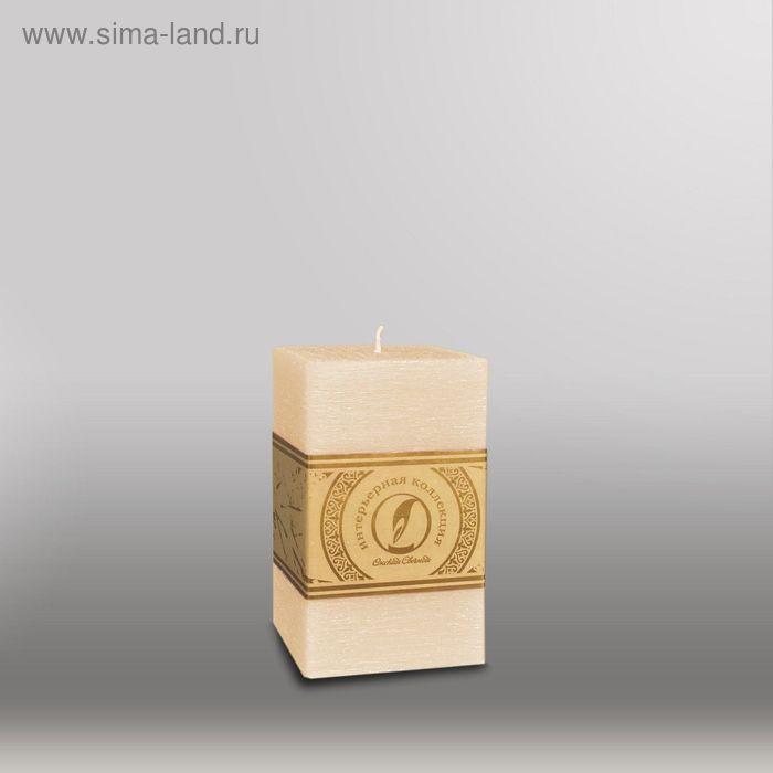 """Свеча квадратная призма """"Рельеф"""", 75x75x125мм,  кремовый"""