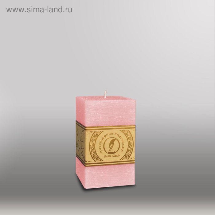 """Свеча квадратная призма """"Рельеф"""", 75x75x125мм,  розовый"""