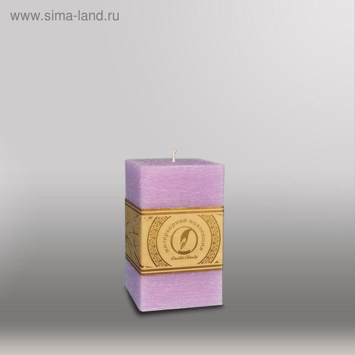 """Свеча квадратная призма """"Рельеф"""", 75x75x125мм,  сиреневый"""