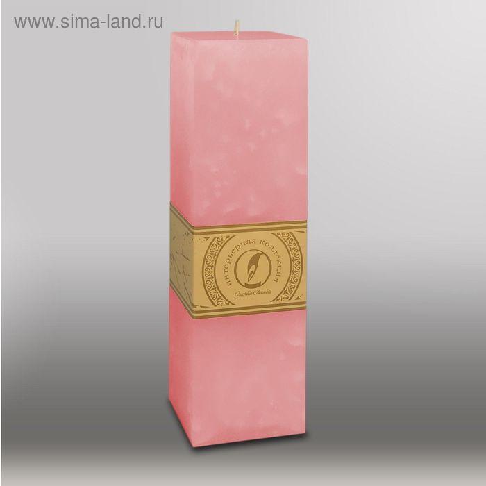 """Свеча квадратная призма """"Мрамор"""", 75х75х250мм,  розовый"""