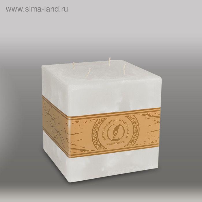 "Свеча куб ""Мрамор"", 125мм,  4 фитиля белый"