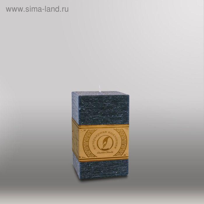 """Свеча квадратная призма """"Рельеф"""", 75x75x125мм,  черный"""