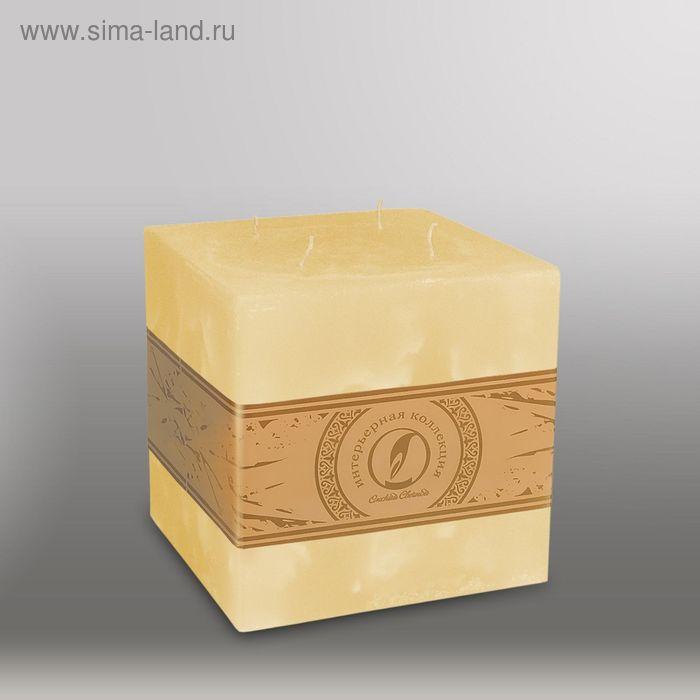 """Свеча куб """"Мрамор"""", 125мм,  4 фитиля желтый"""