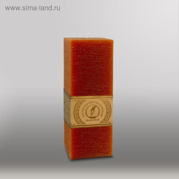 """Свеча квадратная призма """"Рельеф"""", 75x75x205мм,  коричневый"""