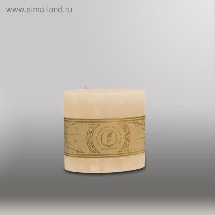 "Свеча овальная призма ""Мрамор"", 125х63х125мм,  2 фитиля кремовый"