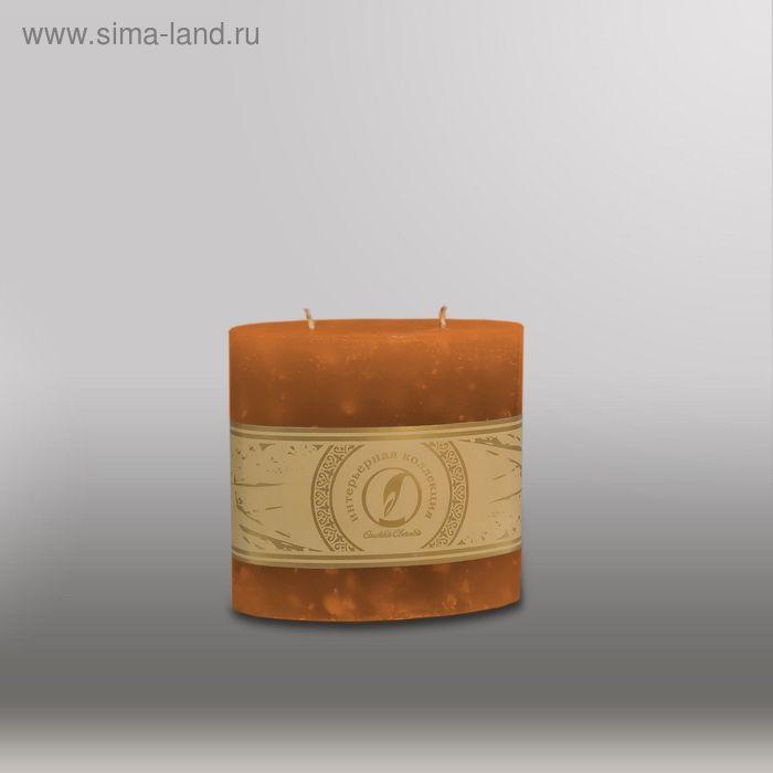 "Свеча овальная призма ""Мрамор"", 125х63х125мм,  2 фитиля коричневый"