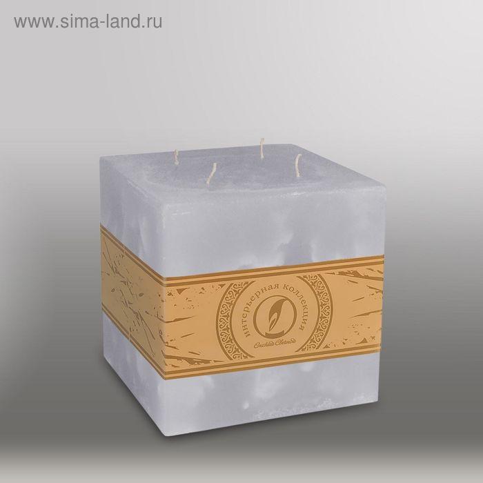 "Свеча куб ""Мрамор"", 125мм,  4 фитиля дымчато-голубой"
