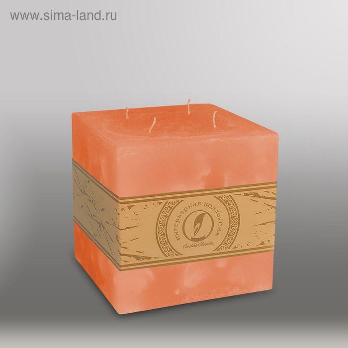 """Свеча куб """"Мрамор"""", 125мм,  4 фитиля облепиховый"""