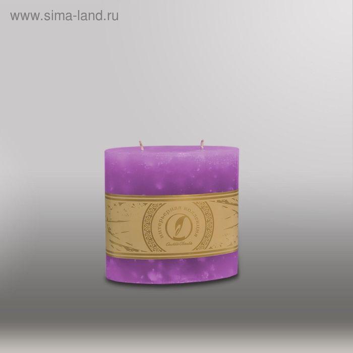 "Свеча овальная призма ""Мрамор"", 125х63х125мм,  2 фитиля сиреневый"