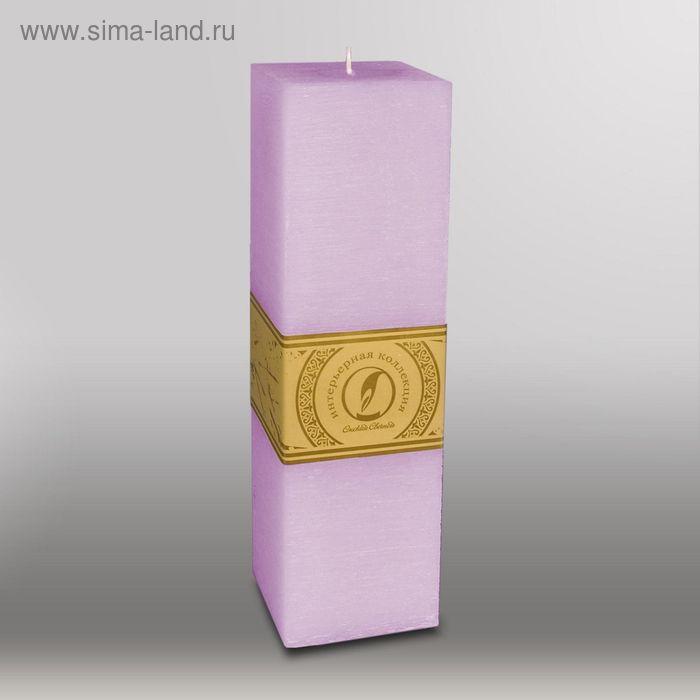 """Свеча квадратная призма """"Рельеф"""", 75x75x250мм,  сиреневый"""