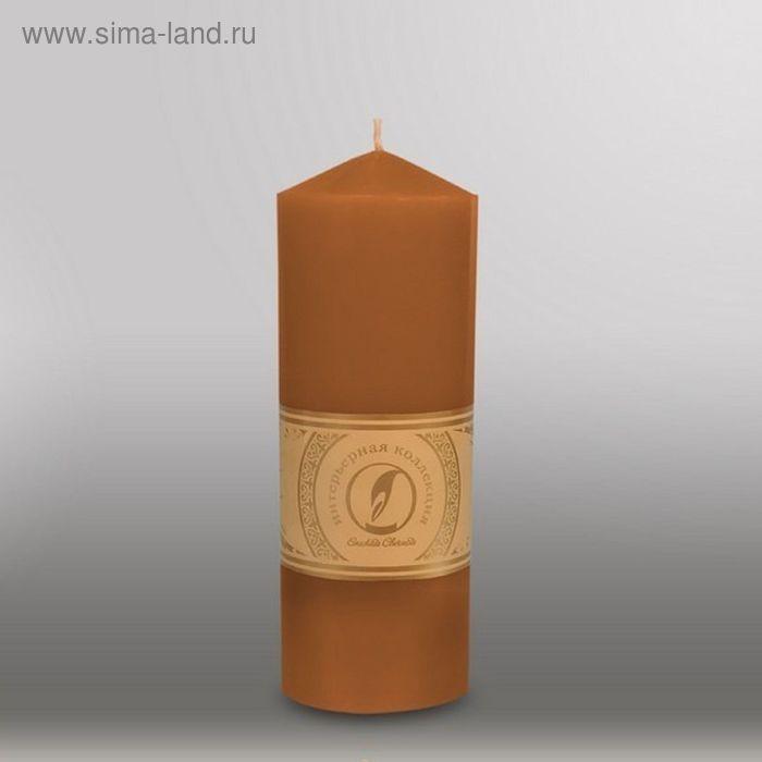 "Свеча цилиндр с конусом ""Классика"", 70x200мм,  коричневый"