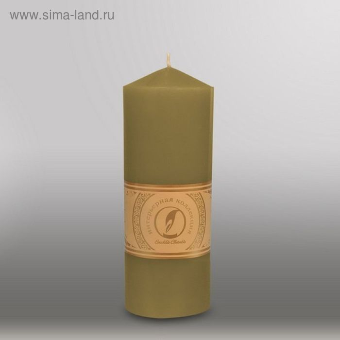 """Свеча цилиндр с конусом """"Классика"""", 70x200мм,  оливковый"""