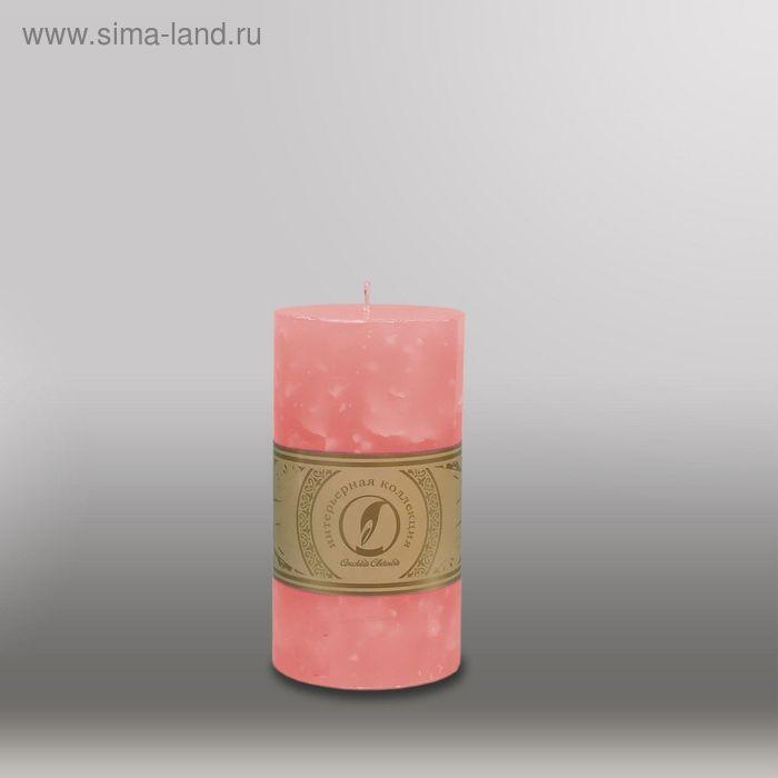 """Свеча цилиндр """"Мрамор"""", 80x150мм,  розовый"""