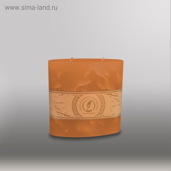 "Свеча овальная призма ""Мрамор"", 150х75х750мм,  2 фитиля коричневый"