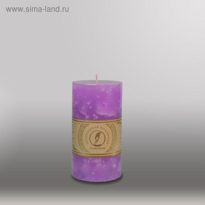 """Свеча цилиндр """"Мрамор"""", 80x150мм,  сиреневый"""