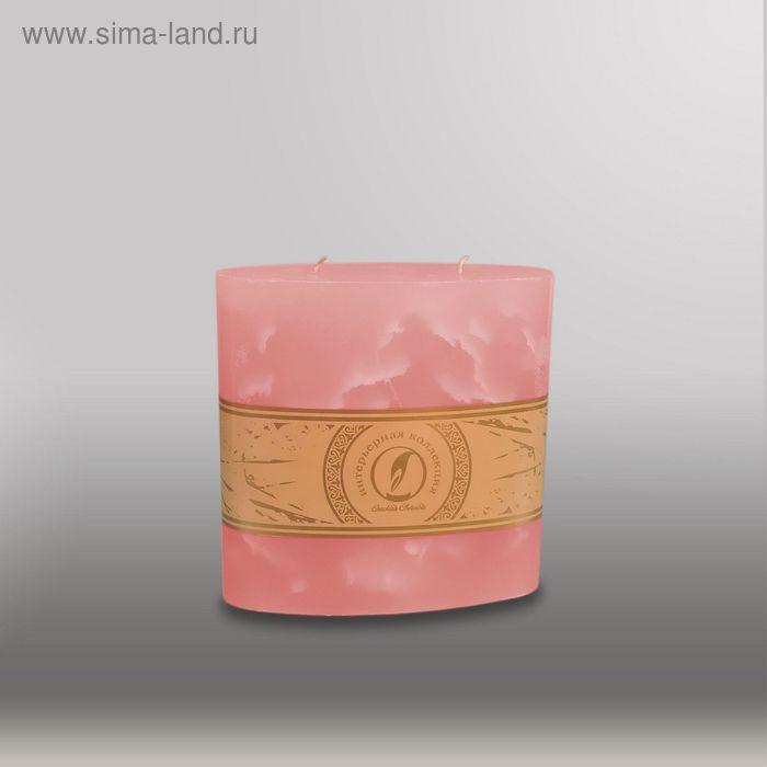 "Свеча овальная призма ""Мрамор"", 150х75х750мм,  2 фитиля розовый"