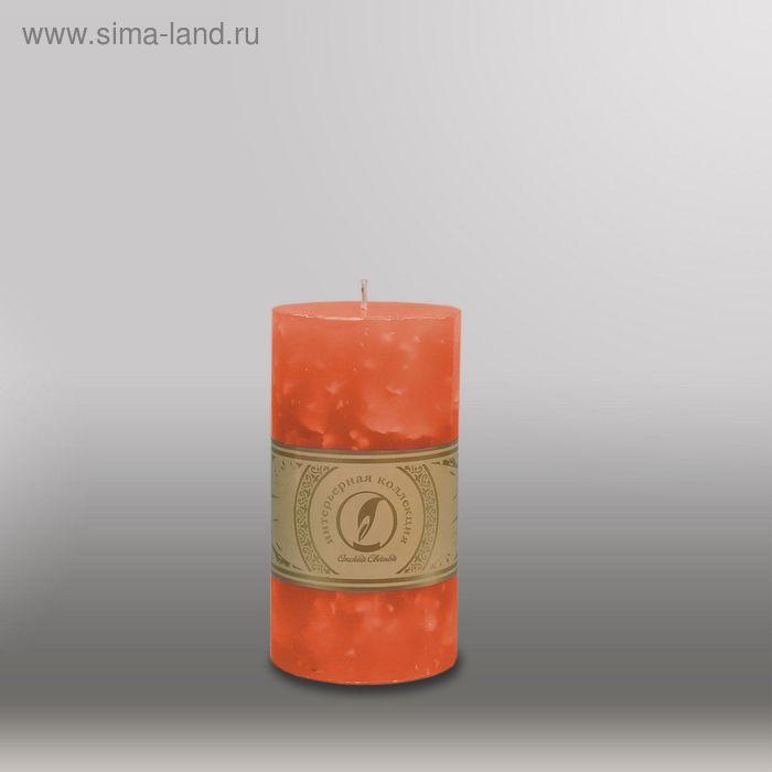 "Свеча цилиндр ""Мрамор"", 80x150мм,  облепиховый"