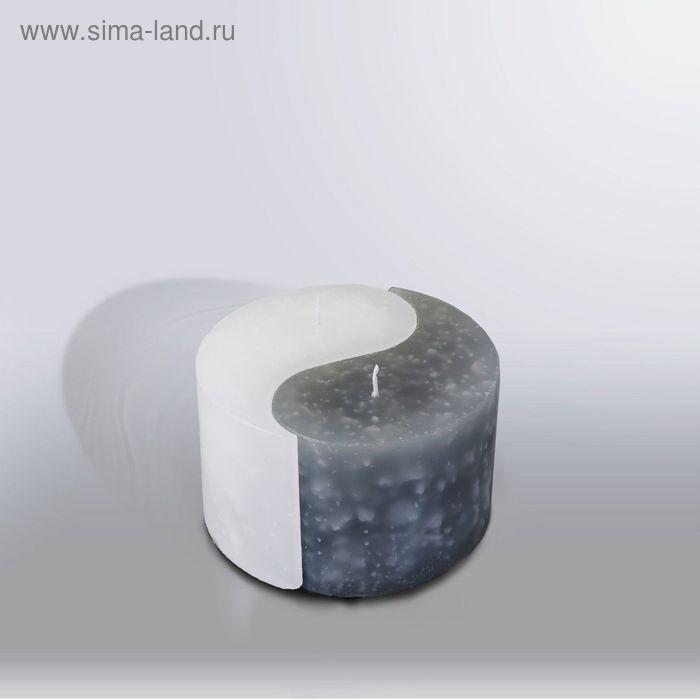 """Свеча двудольная призма Инь-Янь """"Мрамор"""", 125х75мм,  белый/дымчато-голубой"""