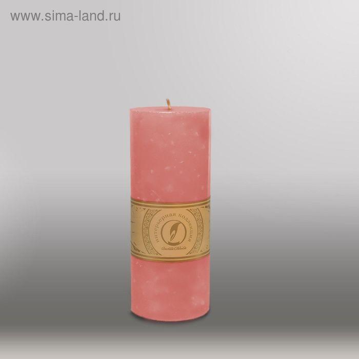 """Свеча цилиндр """"Мрамор"""", 80x200мм,  розовый"""