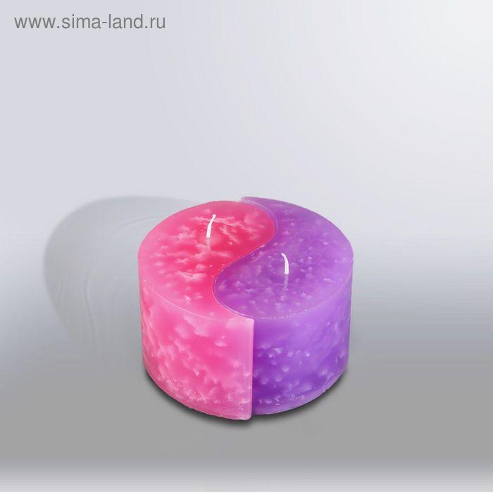 """Свеча двудольная призма Инь-Янь """"Мрамор"""", 125х75мм,  розовый/сирень"""