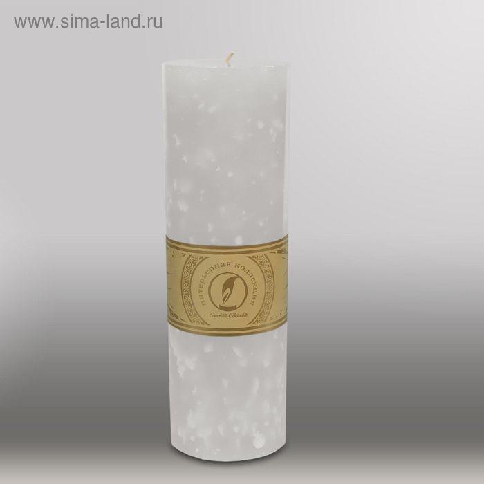 """Свеча цилиндр """"Мрамор"""", 80x255мм,  белый"""