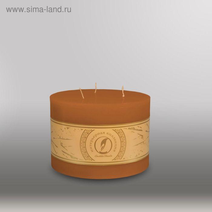 "Свеча цилиндр ""Классика"", 150x105мм,  3 фитиля коричневый"