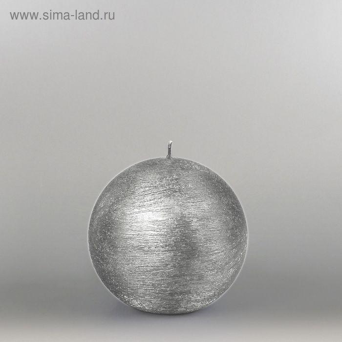"""Свеча шар """"Металлик"""", d=100мм,  серебро"""