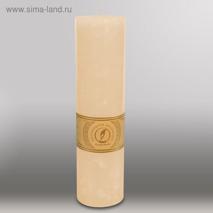 "Свеча цилиндр ""Мрамор"", 80x305мм,  кремовый"