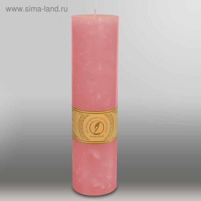 """Свеча цилиндр """"Мрамор"""", 80x305мм,  розовый"""