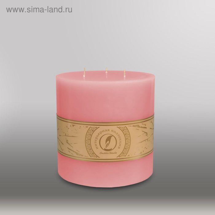 "Свеча цилиндр ""Классика"", 150x150мм,  3 фитиля розовый"