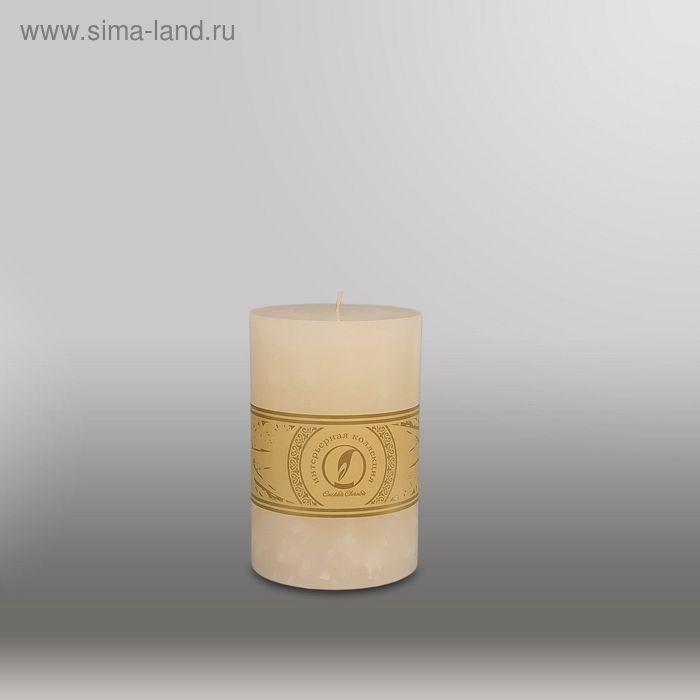"Свеча цилиндр ""Мрамор"", 100x150мм,  кремовый"