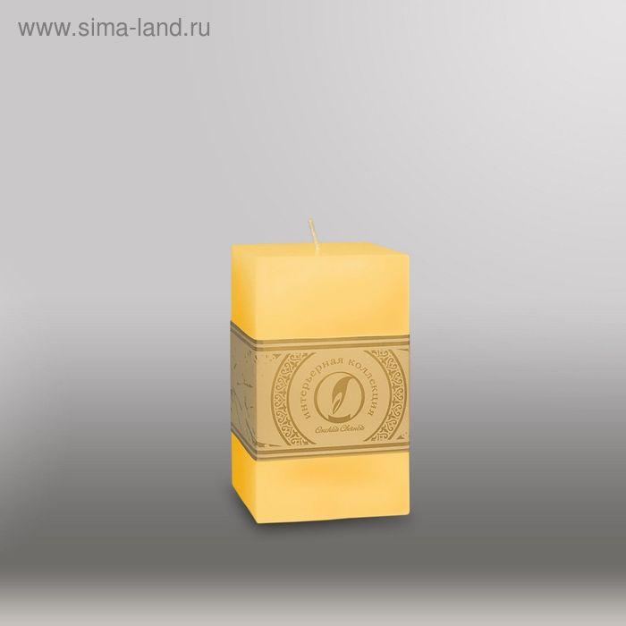 """Свеча квадратная призма """"Классика"""", 75x75х125мм,  желтый"""