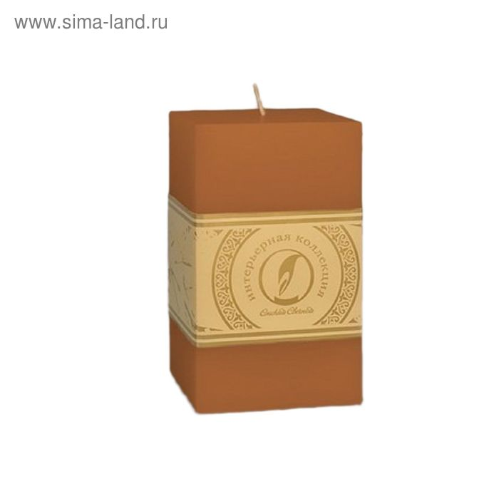"Свеча квадратная призма ""Классика"", 75x75х125мм,  коричневый"
