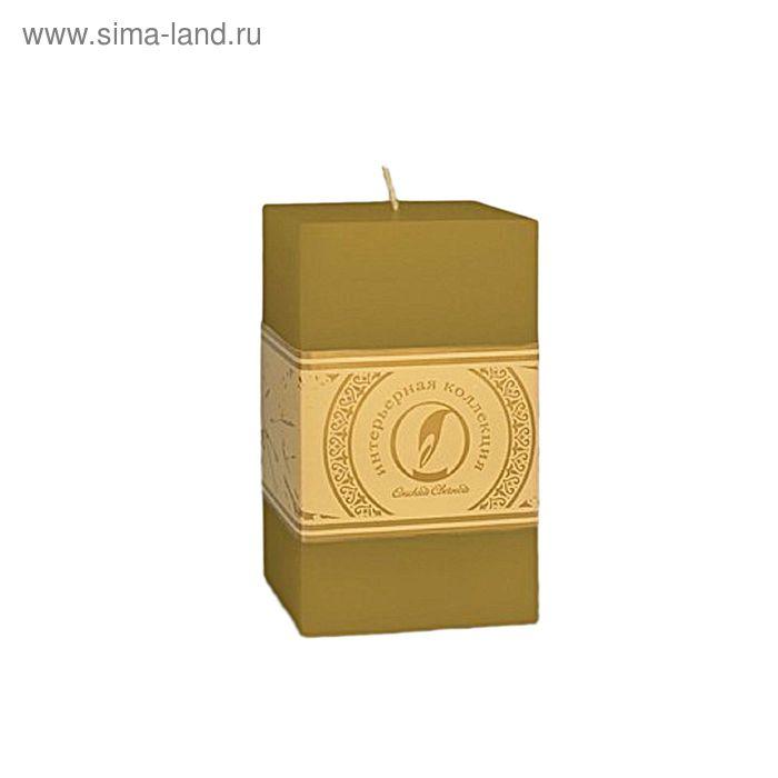 """Свеча квадратная призма """"Классика"""", 75x75х125мм,  оливковый"""