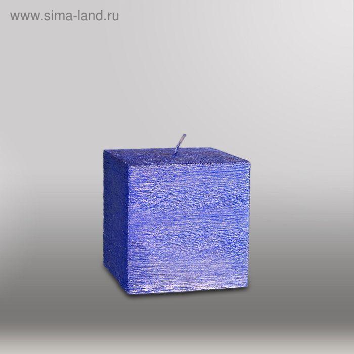 """Свеча куб """"Металлик"""", 75мм,  темно-фиолетовый"""