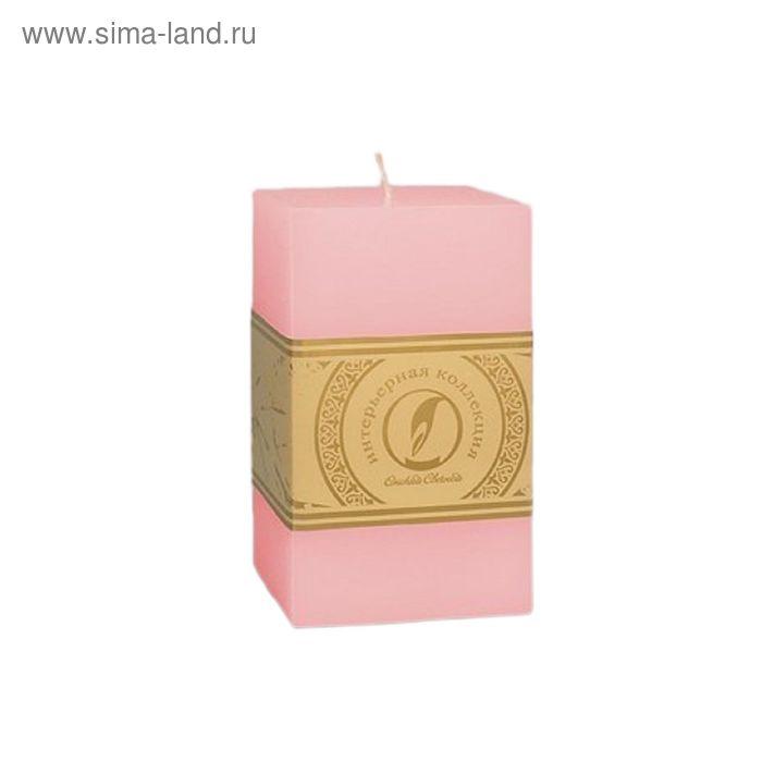 "Свеча квадратная призма ""Классика"", 75x75х125мм,  розовый"