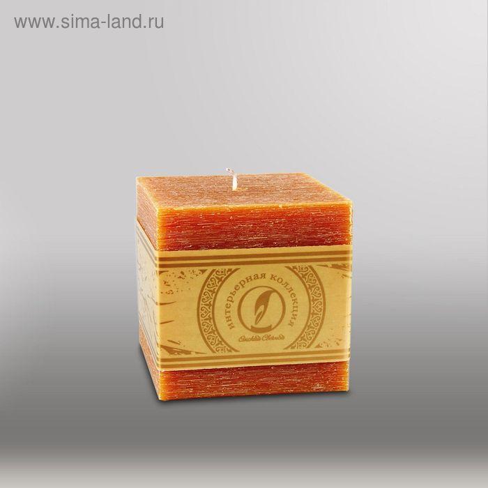 """Свеча куб """"Рельеф"""", 100мм,  коричневый"""