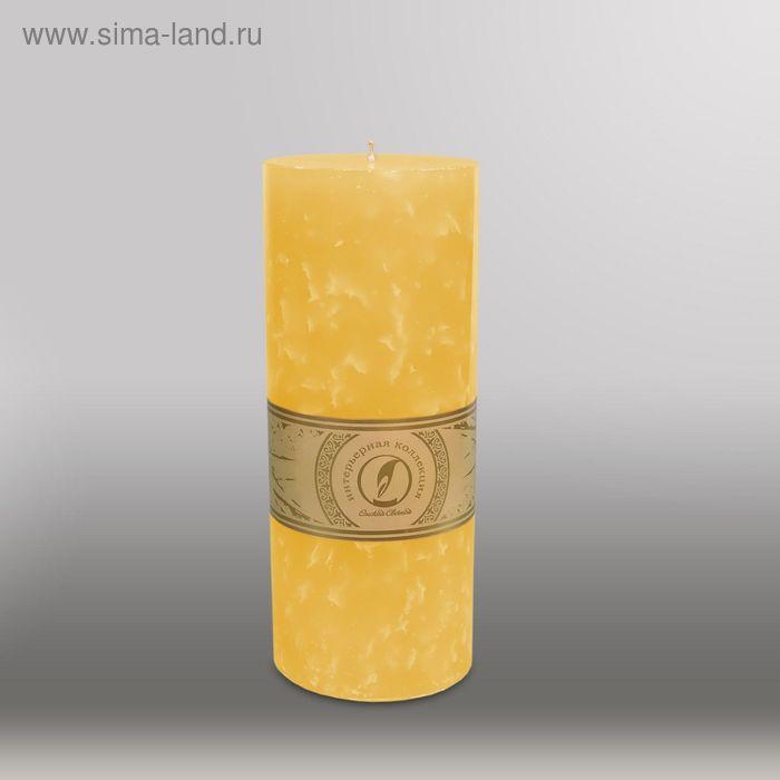 """Свеча цилиндр """"Мрамор"""", 100x255мм,  желтый"""