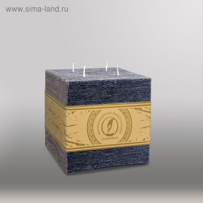 """Свеча куб """"Рельеф"""", 125мм,  4 фитиля черный"""