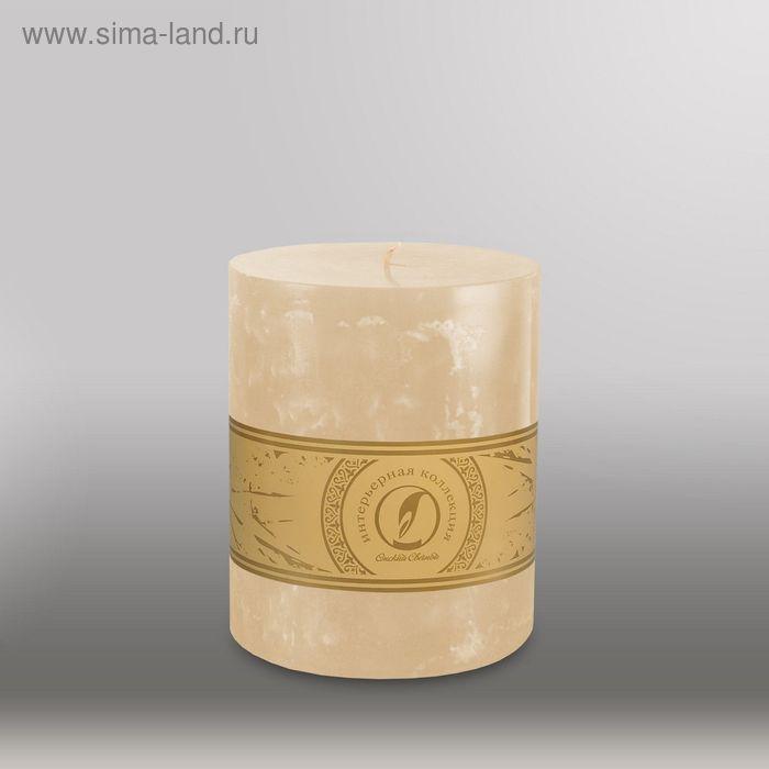 "Свеча цилиндр ""Мрамор"", 125x150мм,  кремовый"