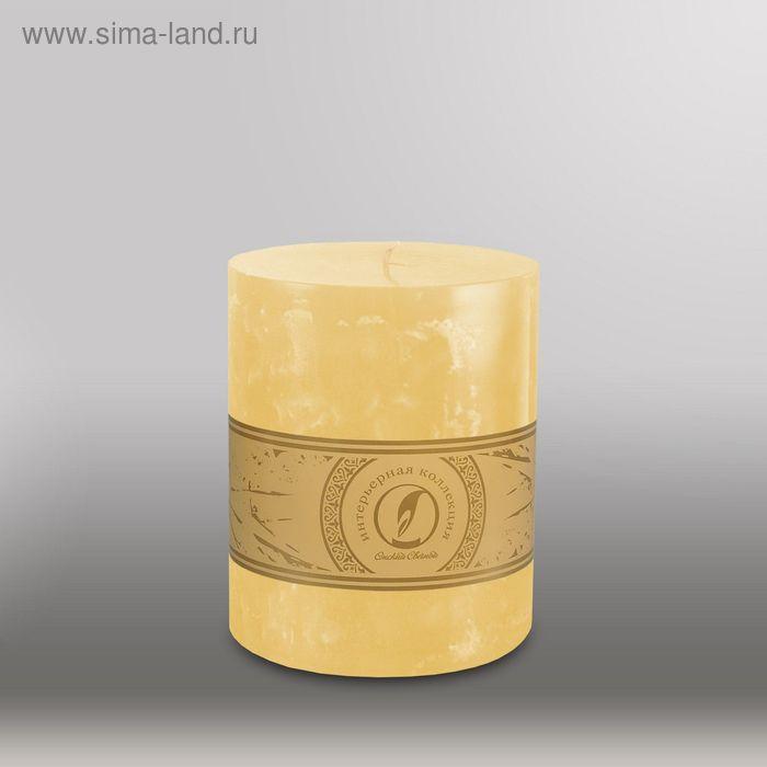 """Свеча цилиндр """"Мрамор"""", 125x150мм,  желтый"""