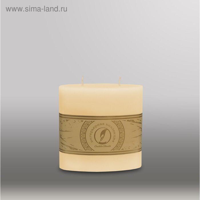 """Свеча овальная призма """"Классика"""", 125x63х125мм,  2 фитиля кремовый"""
