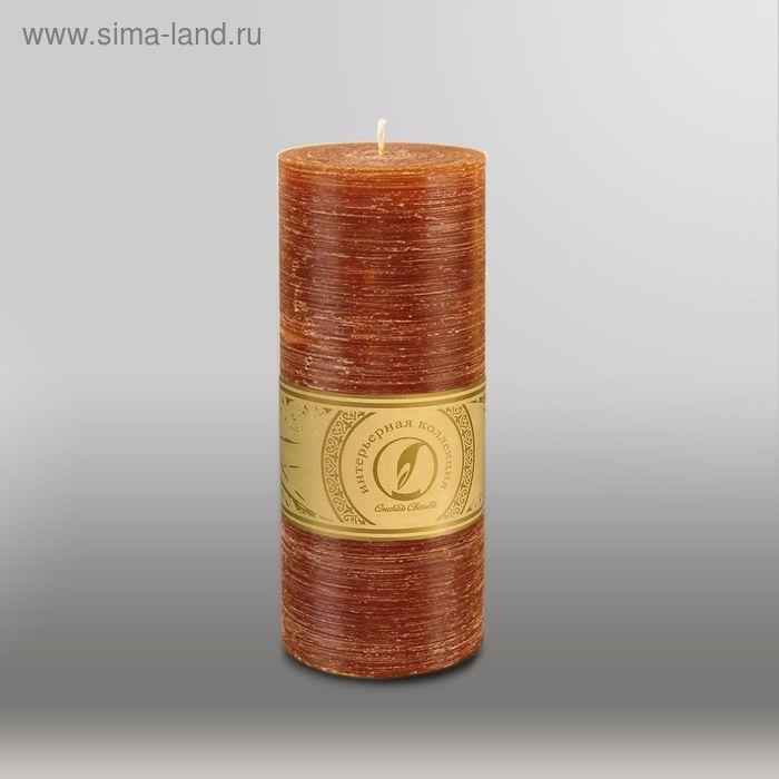 "Свеча цилиндр ""Рельеф"", 80x200мм,  коричневый"
