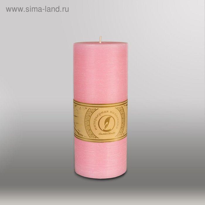 "Свеча цилиндр ""Рельеф"", 80x200мм,  розовый"