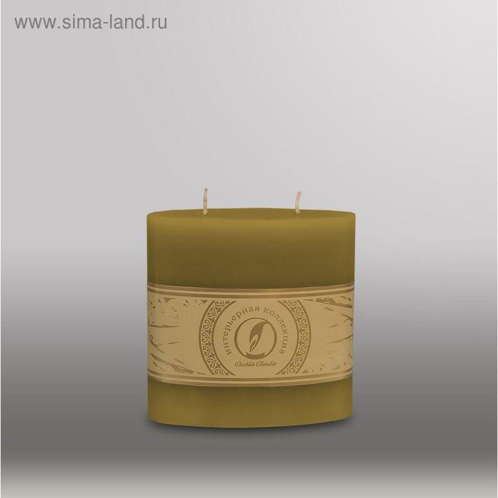 "Свеча овальная призма ""Классика"", 125x63х125мм,  2 фитиля оливковый"