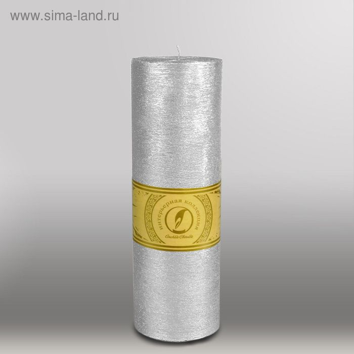 """Свеча цилиндр """"Металлик"""", 80x255мм,  серебро"""